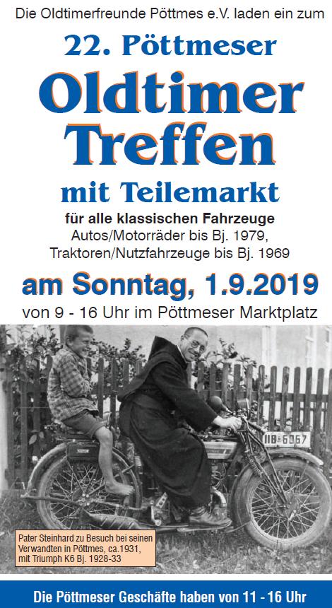 Oldtimertreffen Pöttmes 2019 Titelbild Einladung (Mann auf Motorrad, Foto aus den 1930ern)